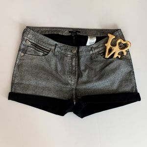 H&M Metallic Silver & Black Shorts Sz 12